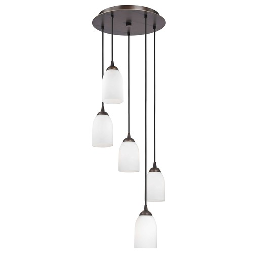 Design Classics Lighting Modern Multi-Light Pendant Light with White Glass and 5-Lights 580-220 GL1028D