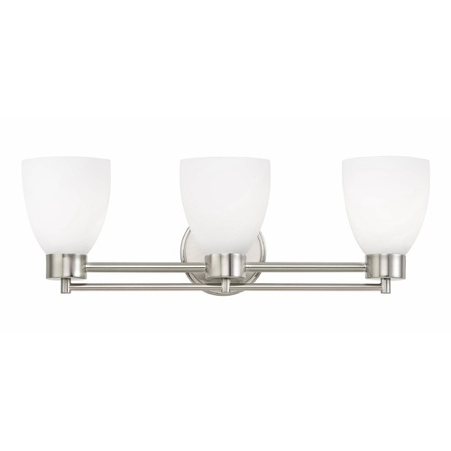 Design Classics Lighting Modern Bathroom Light with White Glass in Satin Nickel Finish 703-09 GL1028MB
