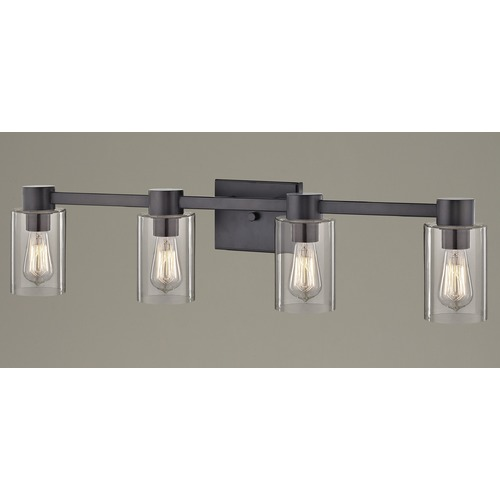 Design Classics Lighting 4-Light Clear Glass Bathroom Light Bronze 2104-220 GL1040C
