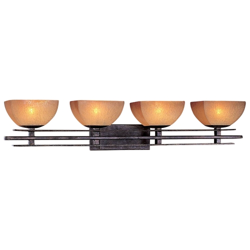Minka Lavery Minka Lighting Iron Oxide Four-Light Bathroom Light with Scavo Glass  6274-357