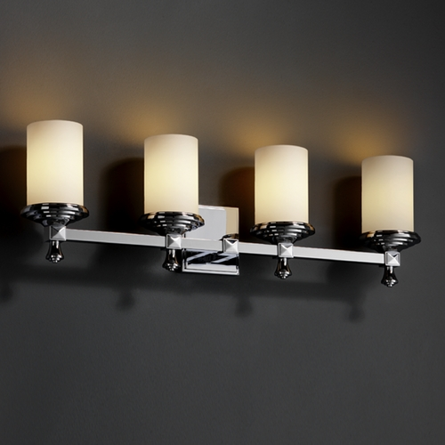 Justice Design Group Justice Design Group Fusion Collection Bathroom Light FSN-8534-10-OPAL-CROM