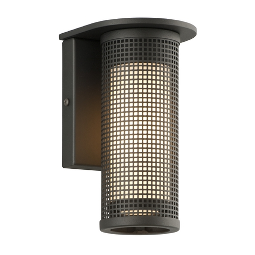 Troy Lighting Modern Outdoor Wall Light with White Glass in Bronze Finish B3741BZ