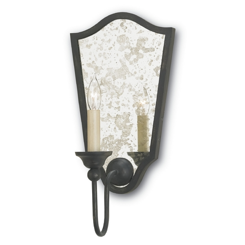 Currey and Company Lighting Currey and Company Lighting French Black / Antique Mirror Sconce 5155