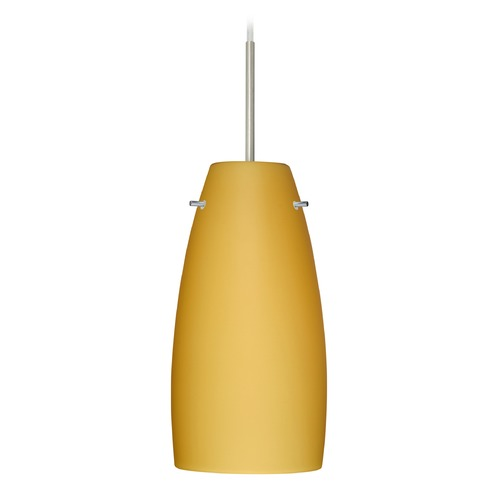 Besa Lighting Besa Lighting Tao Satin Nickel LED Mini-Pendant Light with Oblong Shade 1JT-1512VM-LED-SN