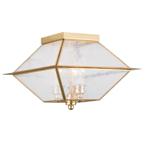 Livex Lighting Seeded Glass Close To Ceiling Light Brass Livex Lighting 2176-02