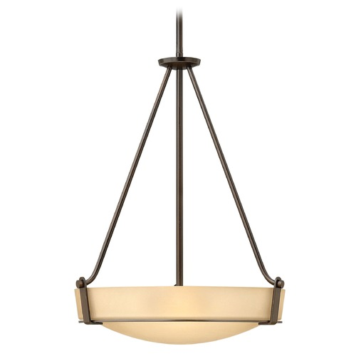Hinkley Lighting Hinkley Lighting Hathaway Olde Bronze Pendant Light with Bowl / Dome Shade 3222OB-GU24