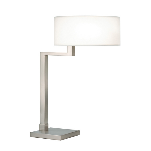 Sonneman Lighting Modern Table Lamp with White Shade in Satin Nickel Finish 6080.13