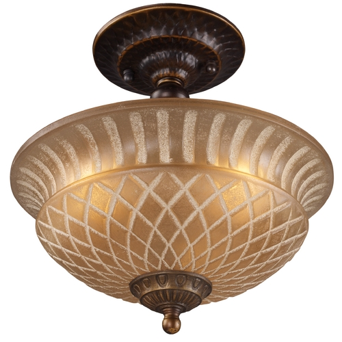 Elk Lighting Semi-Flushmount Light with Amber Glass in Golden Bronze Finish 08097-AGB