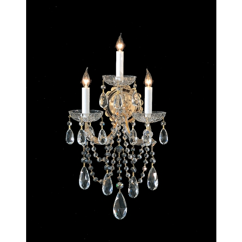 Crystorama Lighting Crystal Sconce Wall Light in Gold Finish 4423-GD-CL-S