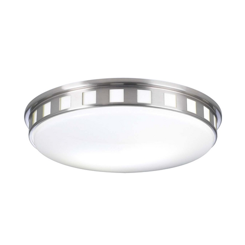 PLC Lighting Modern Flushmount Light with White Glass in Satin Nickel Finish 1958 SN
