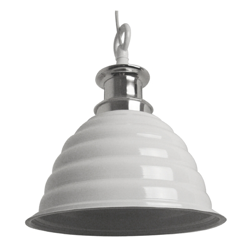 Light and Living Industrial Pendant Light with Gloss White Metal Shade 3020046