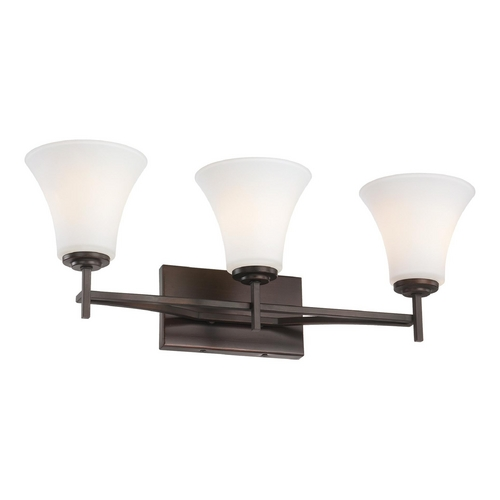 Minka Lavery Bathroom Light with White Glass in Harvard Court Bronze Finish 5933-284