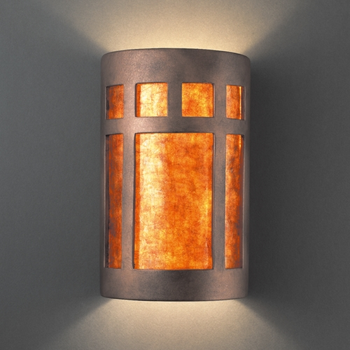 Justice Design Group Sconce Wall Light with White in Antique Copper Finish CER-5355-ANTC