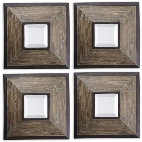 Uttermost Lighting Uttermost Fendrel Squares Wood Mirror Set/4 13817
