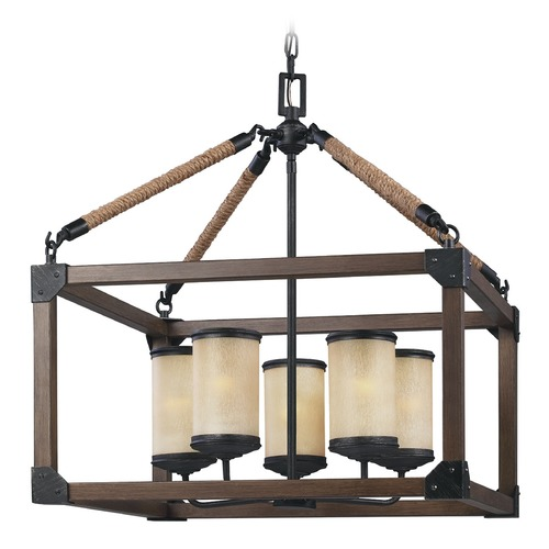 Sea Gull Lighting Sea Gull Lighting Dunning Stardust / Cerused Oak Pendant Light with Cylindrical Shade 3113305-846