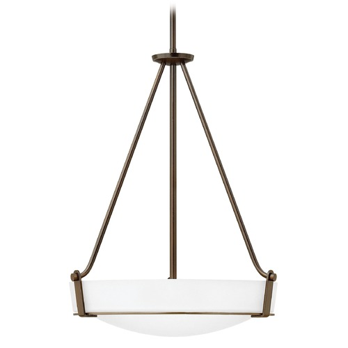 Hinkley Lighting Hinkley Lighting Hathaway Olde Bronze Pendant Light with Bowl / Dome Shade 3222OB-WH-GU24
