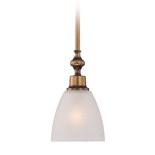 Designers Fountain Lighting Designers Fountain Isla Aged Brass Mini-Pendant Light with Bowl / Dome Shade 85630-ABS