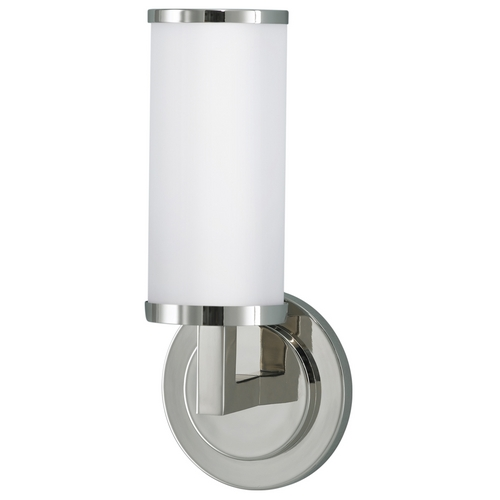 Feiss Lighting Sconce Wall Light with White Glass in Polished Nickel Finish WB1323PN