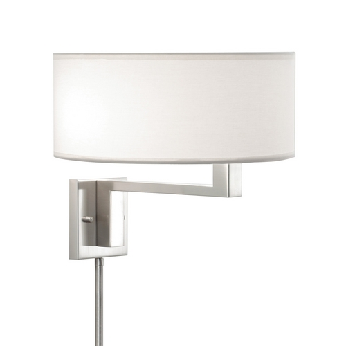 Sonneman Lighting Modern Swing Arm Lamp with White Shades in Satin Nickel Finish 6089.13