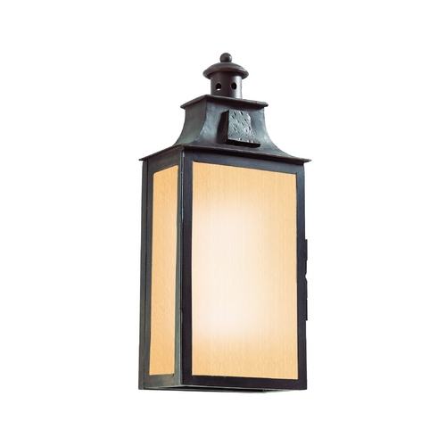 Troy Lighting Outdoor Wall Light with Amber Glass in Old Bronze Finish BF9008OBZ