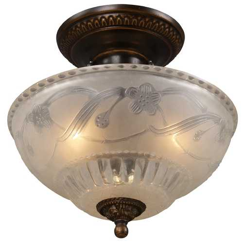 Elk Lighting Semi-Flushmount Bronze Ceiling Light with Frosted Glass 08098-AGB