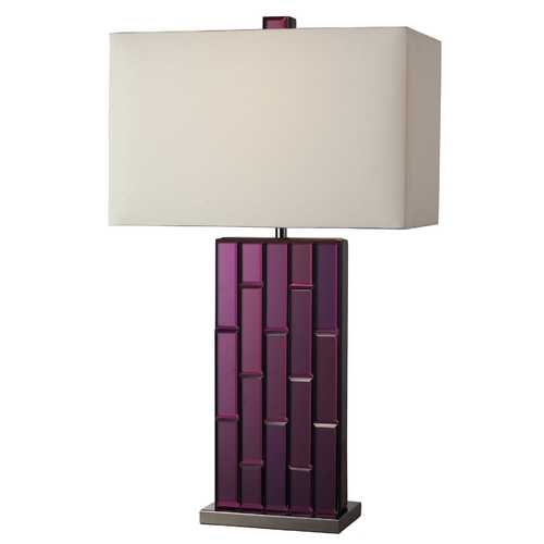Elk Lighting Modern Table Lamp with White Shade in Purple Mirror and Black Nickel Finish D2162