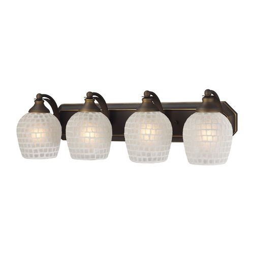 Elk Lighting Bathroom Light with Art Glass in Aged Bronze Finish 570-4B-WHT