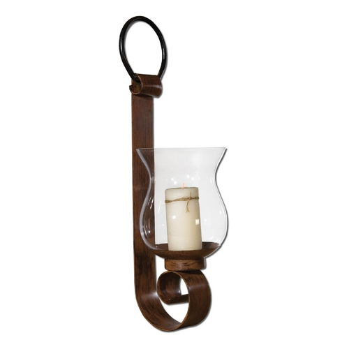 Uttermost Lighting Modern Candle Holder in Antique Mahogany Finish 19463