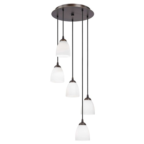 Design Classics Lighting Modern Bronze Multi-Light Pendant Light with White Bell Glass 580-220 GL1028MB