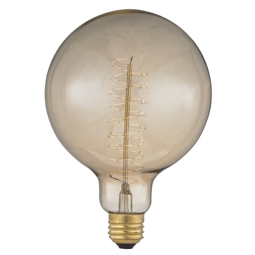 Design Classics Lighting Victorian Early Edison Carbon Filament G40 Light Bulb - 40-Watts 40G40 SPIRAL FILAMENT