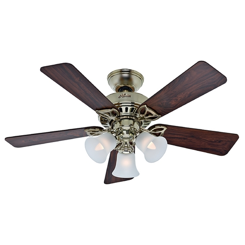 Hunter Fan Company Hunter Fan Company the Beacon Hill Bright Brass Ceiling Fan with Light 53080