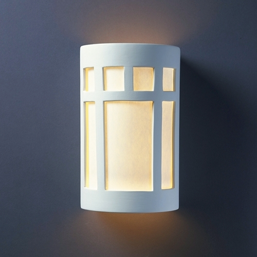 Justice Design Group Sconce Wall Light with White in Bisque Finish CER-5355-BIS