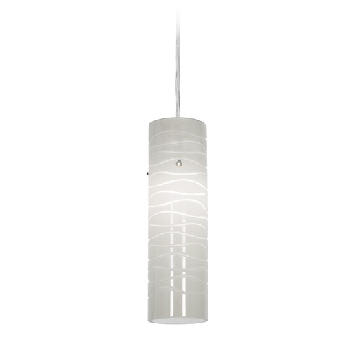 Access Lighting Access Lighting Delta Brushed Steel Mini-Pendant Light with Cylindrical Shade 97932-BS/WHTLN