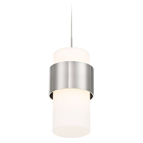 WAC Lighting Wac Lighting Banded Brushed Nickel LED Mini-Pendant Light with Cylindrical Shade PD-68909-BN