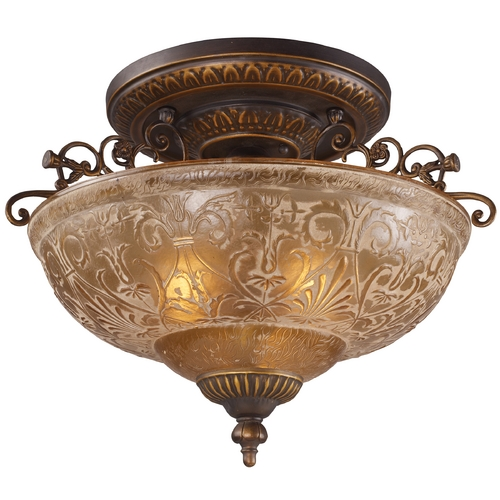 Elk Lighting Semi-Flushmount Light with Amber Glass in Golden Bronze Finish 08099-AGB
