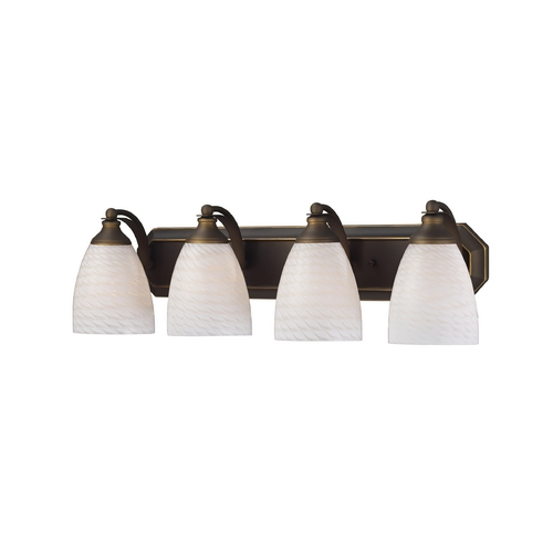 Elk Lighting Bathroom Light with Art Glass in Aged Bronze Finish 570-4B-WS