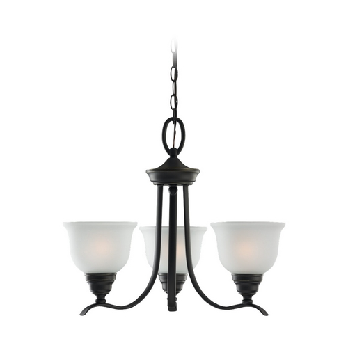 Sea Gull Lighting Chandelier with White Glass in Heirloom Bronze Finish 31625-782