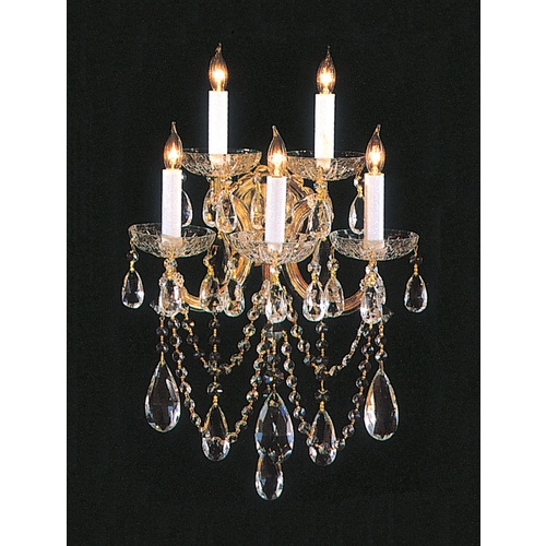 Crystorama Lighting Crystal Sconce Wall Light in Gold Finish 4425-GD-CL-MWP