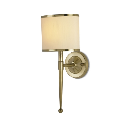 Currey and Company Lighting Sconce Wall Light with Beige / Cream Shade in Brass Finish 5121