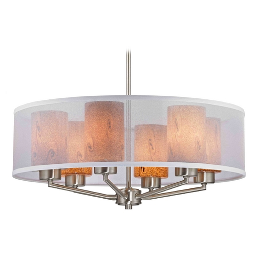 Design Classics Lighting Organza Drum Pendant Light Satin Nickel with Art Glass 6-Light 1725-09 GL1001C