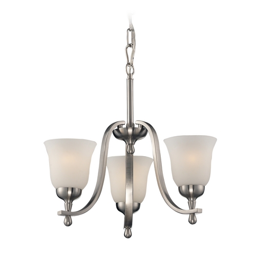 Elk Lighting Mini-Chandelier with White Glass in Brushed Nickel Finish 17145/3