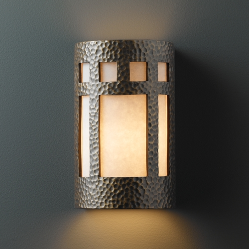 Justice Design Group Sconce Wall Light with White in Hammered Brass Finish CER-5355-HMBR