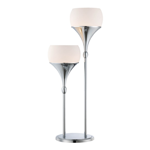 Lite Source Lighting Modern Table Lamp with White Glass in Polished Chrome Finish LS-22225