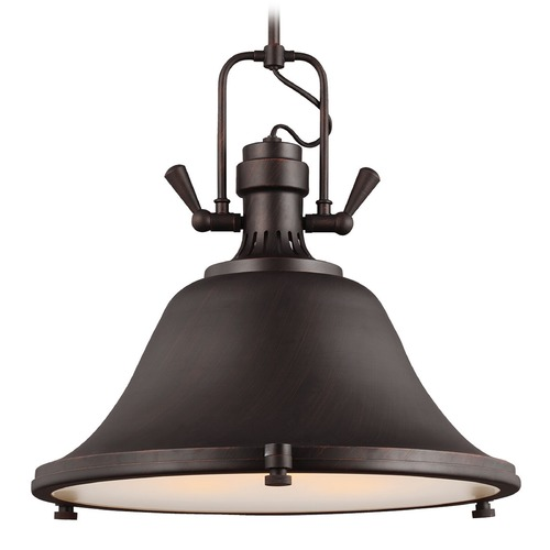 Sea Gull Lighting Farmhouse Pendant Light Bronze Stone Street by Sea Gull Lighting 6514403BLE-710