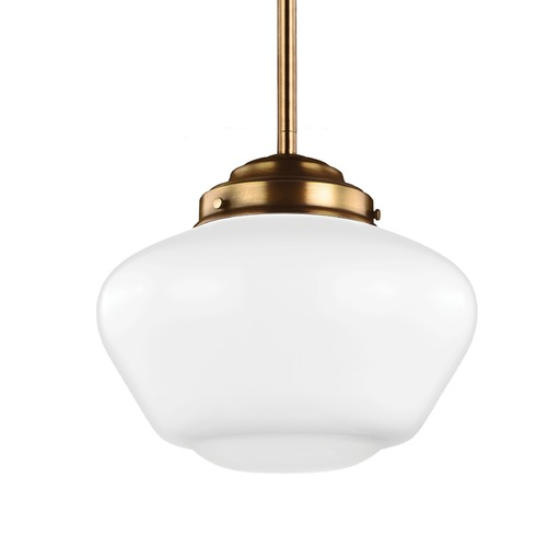 Feiss Lighting Schoolhouse Pendant Light Opal Glass Brass 12-Inch Wide by Feiss Lighting P1385AGB