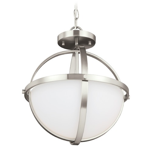 Sea Gull Lighting Sea Gull Lighting Alturas Brushed Nickel LED Pendant Light with Bowl / Dome Shade 7724602EN3-962