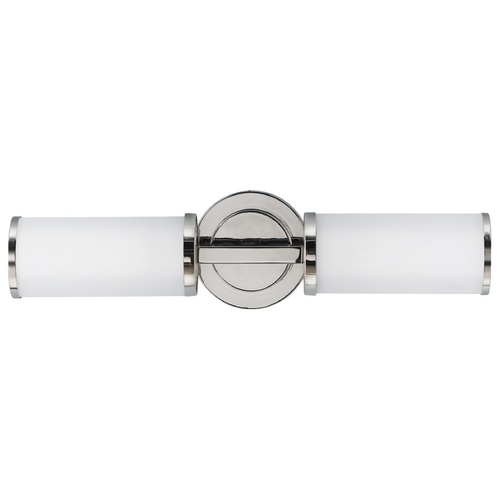 Feiss Lighting Sconce Wall Light with White Glass in Polished Nickel Finish WB1334PN