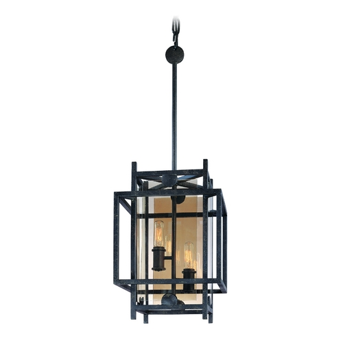 Troy Lighting Pendant Light with Clear Cage Shades in French Iron Finish F2492FI