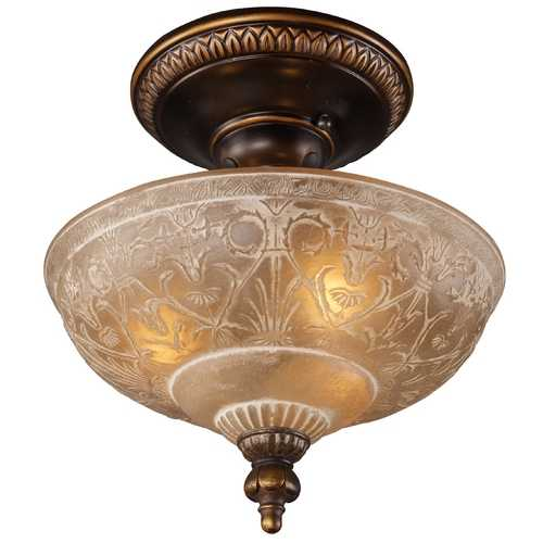 Elk Lighting Semi-Flushmount Light with Amber Glass in Golden Bronze Finish 08100-AGB