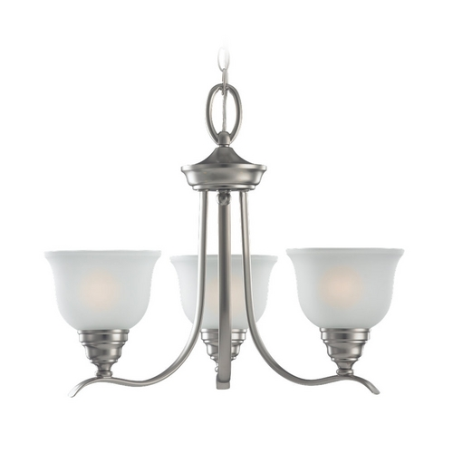 Sea Gull Lighting Chandelier with White Glass in Brushed Nickel Finish 31625-962